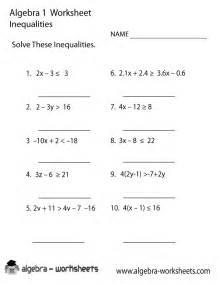 inequalities algebra 1 worksheet printable