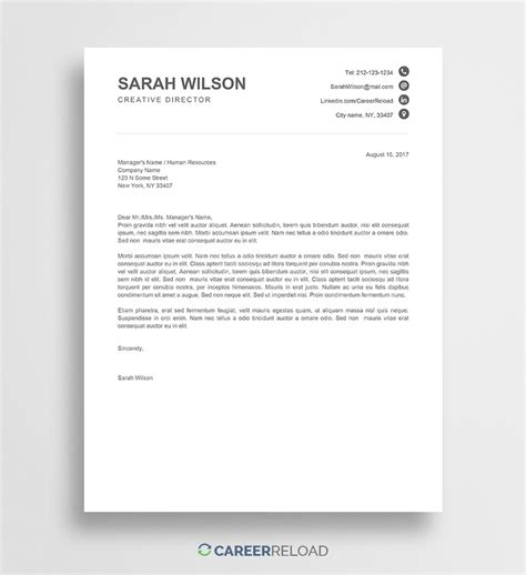 Free Cover Letter Templates For Microsoft Word Free Download Free Letter Template In Word