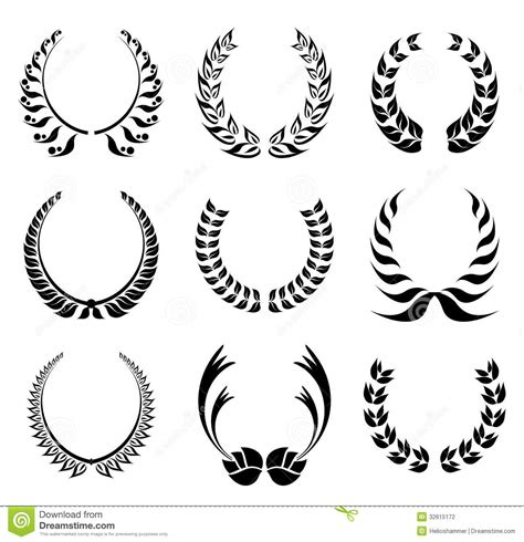 laurel wreath symbol set stock photography image 32615172