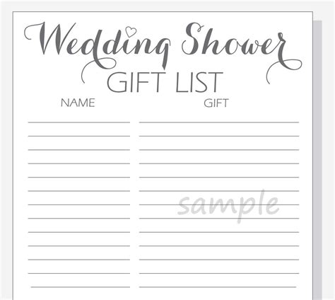 wedding shower gift list template