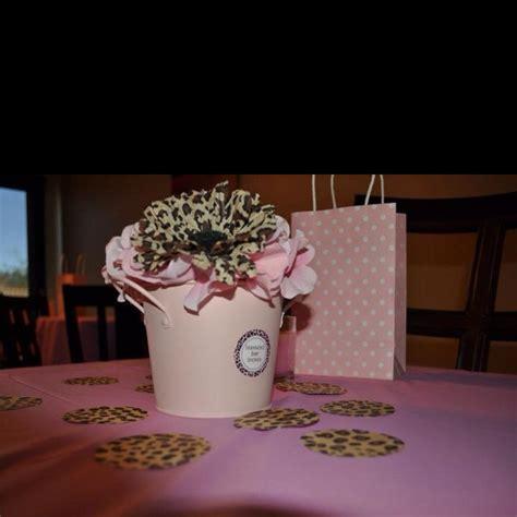 pink and leopard baby shower centerpiece ideas