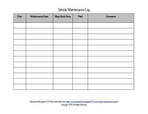 printable log book for vehicles free printable vehicle maintenance log why you should