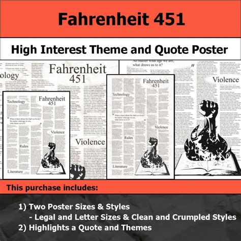 theme of fahrenheit 451 quotes visual theme quote posters