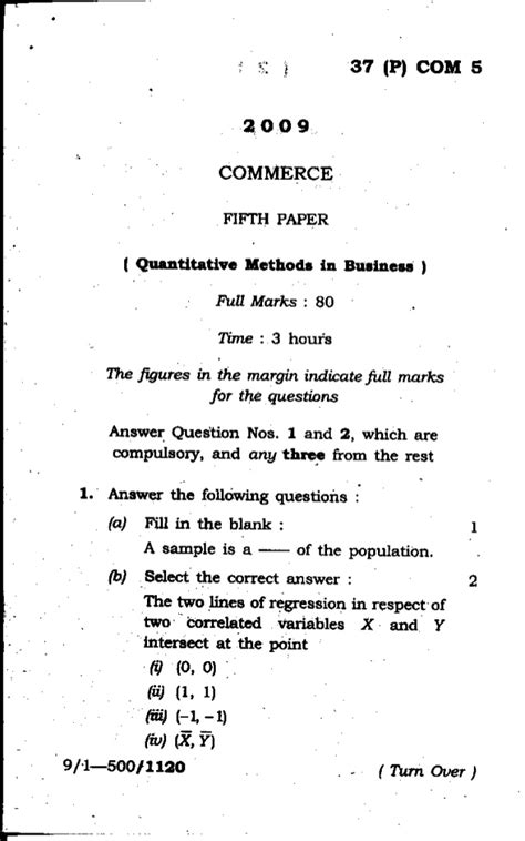 Quantitative And Research Methods In Business Notes For Mba by 5 Quantitative Methods In Business 2009 Guwahati