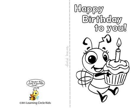 printable birthday cards black and white diy free printable birthday card for kids to decorate and
