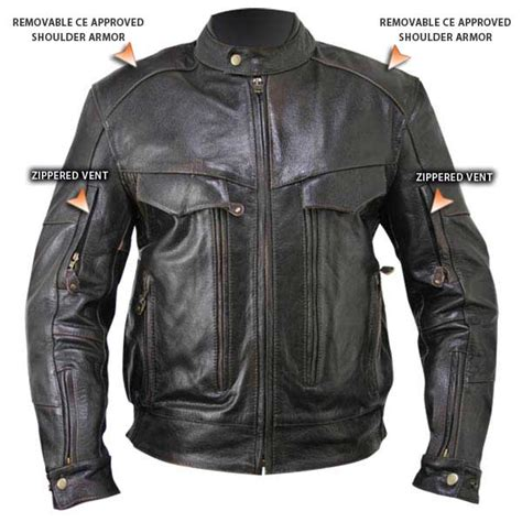 motorcycle jackets with armor retro brown leather cruiser motorcycle jacket with armor