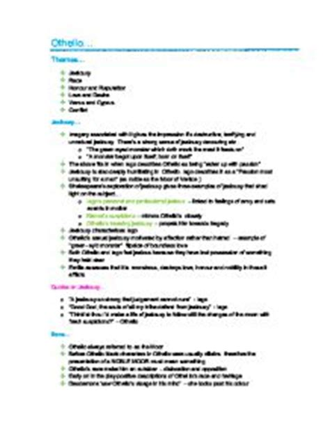 themes in othello a level othello revision notes themes and quotes gcse english
