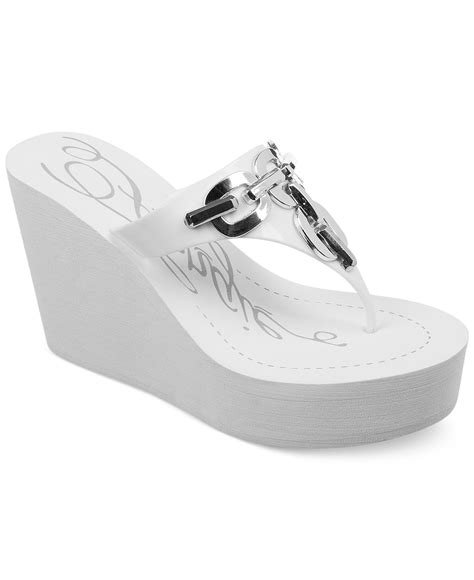 white easter shoes fergie easter wedge sandals in white lyst