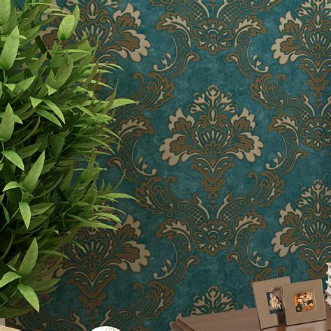 blue wallpaper ebay vintage dark blue luxury damask textured embossed flocking