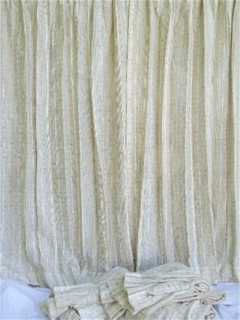 cream colored curtains danish modern 60s 70s vintage drapes handwoven weave