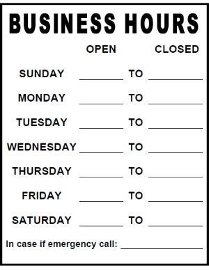 Printable Business Hours Sign Template business hours sign template printable pdf