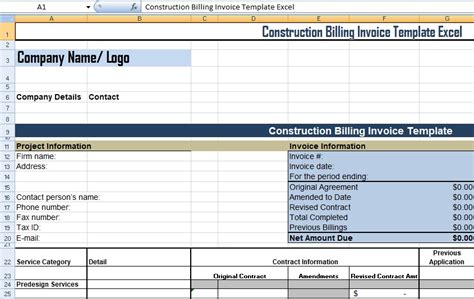 construction invoice template excel get construction billing invoice template excel xls free