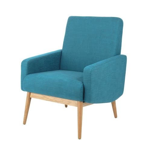 fabric vintage armchair in petrol blue kelton maisons du