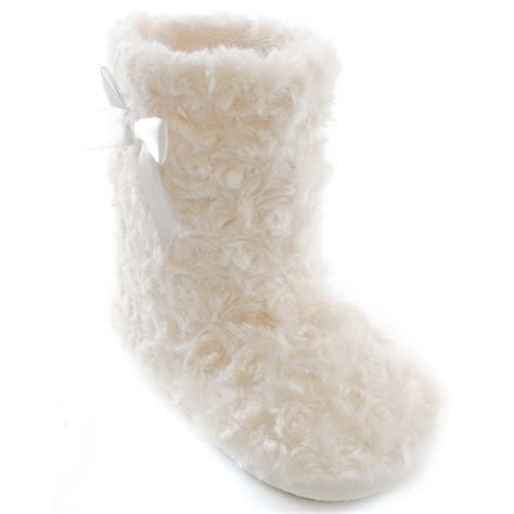 fluffy slippers for childrens fluffy boot slippers with bow