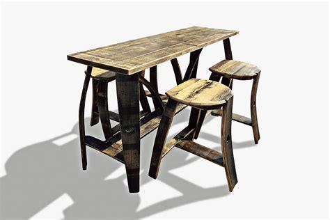 table for bar stools tall bar table 4 stools bourbon barrel furniture