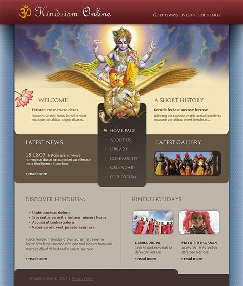 website templates for temple free download hinduism website template 17553