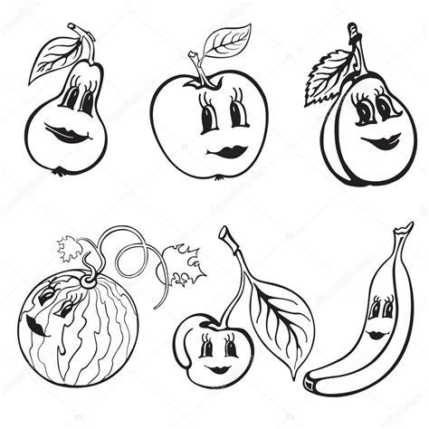 imagenes blanco y negro de frutas conjunto de dibujos animados divertido frutas blanco y