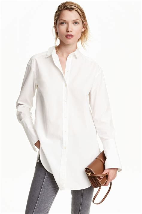 H M White h m cotton shirt in white lyst