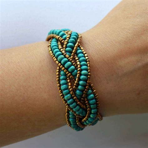 bead bracelet beaded bracelet with turquoise wooden