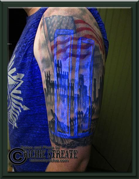 twin towers tattoo towers ground zero american flag