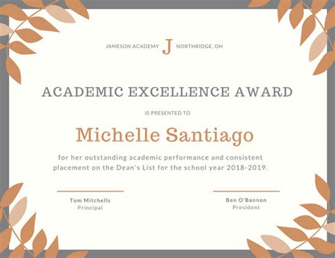 28 academic certificate template academic