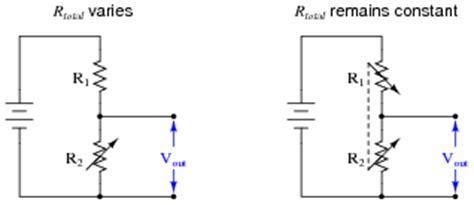 voltage divider using variable resistor knowing that the voltage output by a voltage divider is described by the following formula