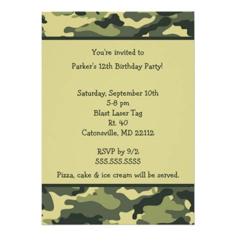 camouflage invitation template free printable camouflage invitations