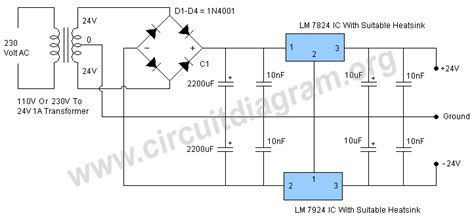 24 volts power supply circuit diagram 24v dual power supply regulated circuit diagram