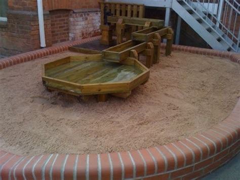 trough pit water play with large open sand pit with water