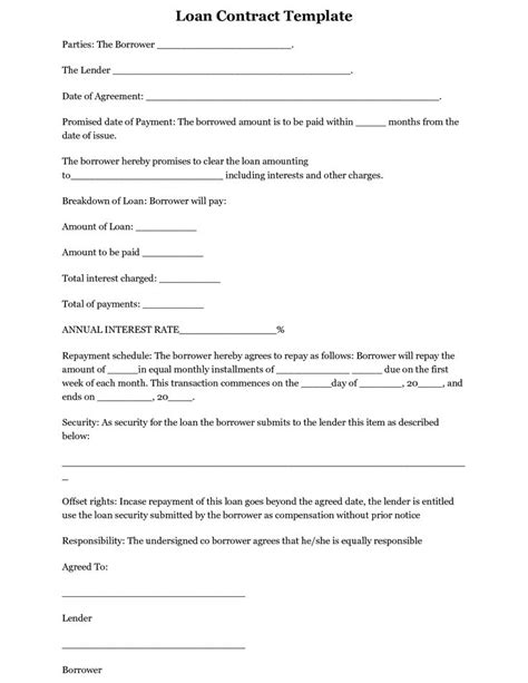 printable loan agreement or loan contract form sle