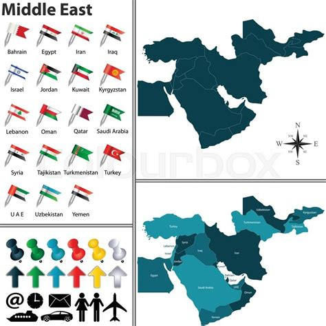 middle east map flag vector of political map of middle east set with flags on