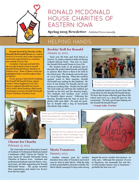 Ronald Mcdonald House Iowa City by 2013 Newsletter By Rmhc Eiwi Issuu