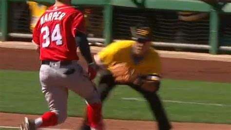 baseball benches clear nationals and pirates benches clear after fake tag