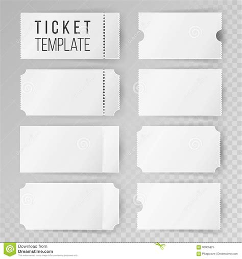 ticket template set vector modern mock up wedding cinema