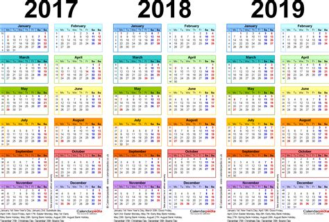 3 Year Calendar Template three year calendars for 2017 2018 2019 uk for excel