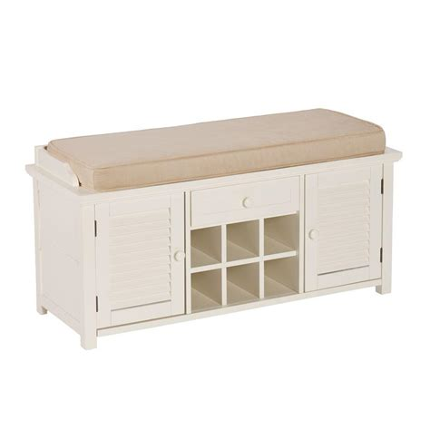 shoe storage bench white home decorators collection chambers 42 in w navy stripe