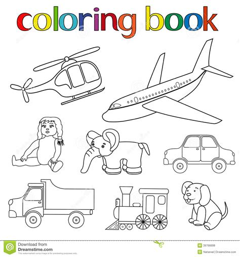 coloring book 7 toys set of various toys for coloring book stock vector image