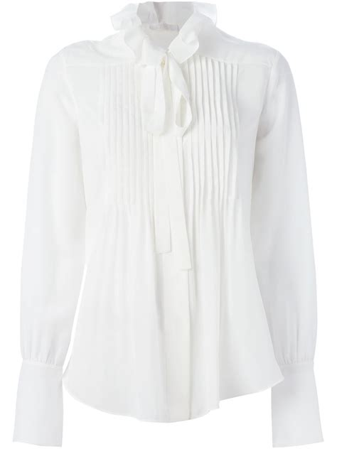 Gap White Pleated Blouse chlo 233 pleated blouse in white lyst