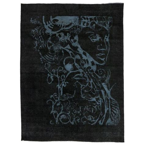 Optical Illusion Rugs For Sale by Vintage Black Rug With Optical Illusion And Unconventional