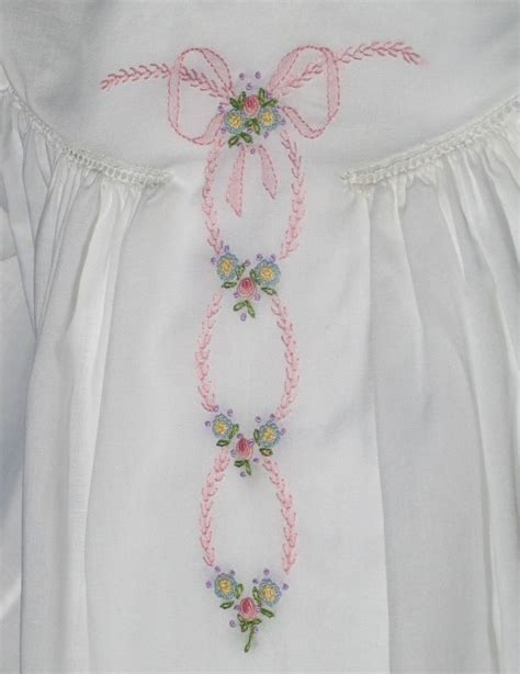 Flower Pin Combined Dress 12482 pink featherstitching shadow work combined with bullion