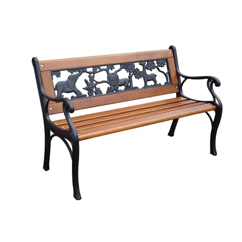 bench outside shop garden treasures 16 26 in w x 32 4 in l patio bench at lowes com