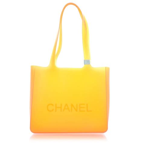 Chanel Clucth Jelly chanel jelly rubber tote orange 28942