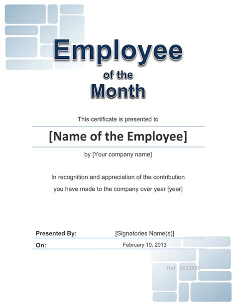 employee of the month template free employee award certificate templates