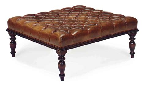 tan leather ottoman an oversized mahogany and button tufted tan leather