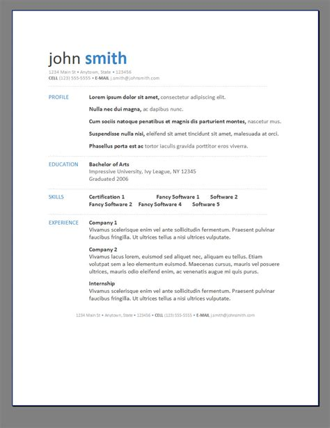 resumè template primer s 6 free resume templates open resume templates