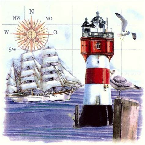 Napkin Decoupagetissue Decoupagelighthouse Sea decoupage paper napkins of sailing ship lighthouse compass sea gulls