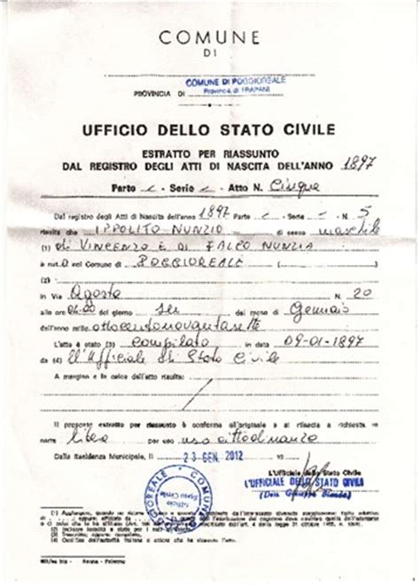 Italian Birth Records Free Nick Eppolito S Birth Certificate From Italy His Given Name Was Nunzio Ippolito Which