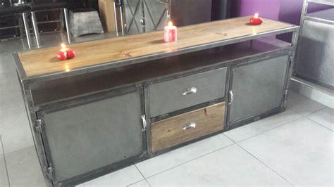 meuble de s駱aration cuisine salon meuble de tv style industriel acier et bois mobilier