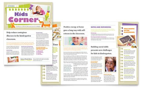 pages newsletter templates free kindergarten newsletter template design