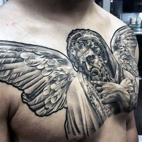angel statue tattoo 40 statue designs for carved ink